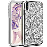 360 Shockproof Glitter Dual Layer Protection Armor Case Cover For iPhone SE X 10