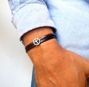peace bead charm sterling silver leather bracelet women men cuff bangle 925 new