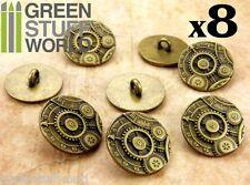 8x Botones Ruedas y Engranajes - color Oro Viejo - SteamPunk - Abalorios Joyeria