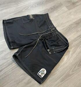 "Vtg 90s KATIN Custom Surf Trunks BLACK Nylon 6"" Board Shorts Swim Suit USA Sz 36"