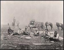 "Cowboys eating, Chuck Wagon, Horses, An 1880 view, antique western decor, 14""x11"