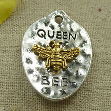 40 pcs tibetan silver gold plated QUEEN BEE charms pendant 43x38mm L-4694
