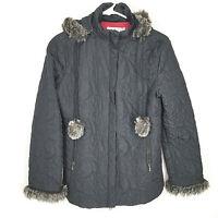 CAbi Plaza Thin Quilted Black Coat Faux Fur Trim Zip Jacket zip off hood #656 S