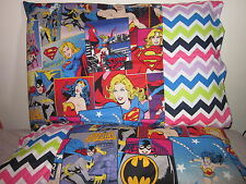 Bat/supergirl wonder woman pattern3 100% new Cotton handmade Pillowcase one pair