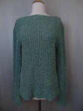 Ralph Lauren Bateau-Neck Marled Cotton Cable Knit Sweater Green Medium #2320