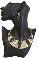 Women Gold Metal Chains Fashion Jewelry Necklace Wide Pendant Bling Brown Beads