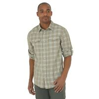Wrangler Long Sleeve Western Plaid Shirt with Roll up Sleeves, NSP92FK, FRock