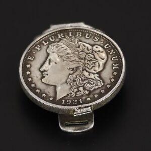 VTG Sterling Silver - HEAVY 1921 US Morgan Dollar Coin Men's Money Clip - 39g