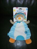 Doudou Plat Babysun Ours Blanc Beige Bleu Orange Bon Voyage Neuf