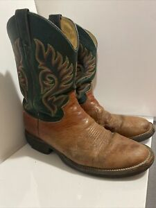 Justin Smooth Ostrich Sz 11 1/2 D 5525 Dark Green  Cowboy Boots Mens