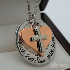 Sterling Silver Pltd Faith Hope Love Gold Heart Cross Pendant Chain Necklace 218