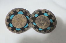 Inlay Turquoise & Black Enamel Sterling Mexican Taxco Cuff Links W,