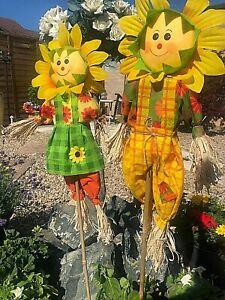 Decorative Garden Scarecrows 3 feet  2pk Deter Birds Pests Garden  Jack n Jill
