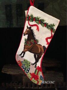Brown Horse Needlepoint Christmas Stocking NWT