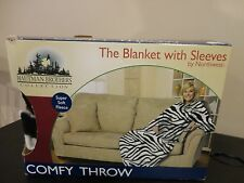 HAUTMAN BROTHERS COMFY THROW THE BLANKET WITH SLEEVES BY NORTHWEST ZEBRA PRINT