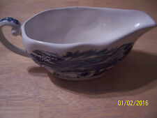 STAFFORDSHIRE LIBERTY BLUE GRAVY BOAT Lafayette Landing at West Point