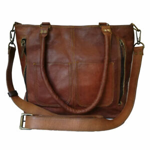 Womens Crossbody Genuine Leather Shoulder Tote Handbag Brown Purse Satchel Bag