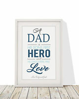 Personalised Dad Son's First Hero Daughters Framed Blue Print With Mount 12 x 10