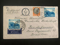 1941 Berlin Germany Airmail cover To Rio De Janeiro Brazil Via rome