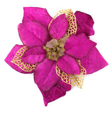 20cm Christmas Party Poinsettia Glitter Flower Gold Bow Clip on Decoration Newly Rose Red