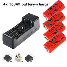 4x2300mAh CR123A 16340 Flashlight Torch Rechargeable Battery+18650 14500 Charger