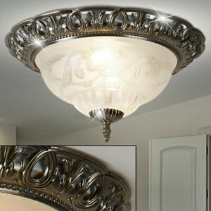 Decken Lampe Landhaus Stil Glas Lüster Blumen Dekor Beleuchtung messing-antik
