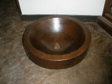 Hammered Copper Round Double Wall Skirted Sink Vessel Bathroom Sink Mudroom NEW