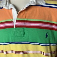 New listing Vintage Polo Ralph Lauren Rugby Long Sleeve Shirt Striped 2XL Custom Fit