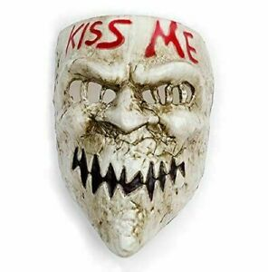 KISS ME FACE MASK PURGE FANCY DRESS COSTUME SCARY HALLOWEEN ADULTS PLASTIC SCARY