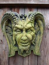 PAN Green Man Placca Muro Pietra decorativa pagana CASA o decorazione giardino 33cmH