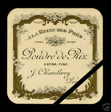 Vintage French Perfume Label 1910 Antique Original Poudre De Riz J. Chamberry