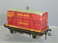 "HORNBY DUBLO 3-RAIL DI No.32087 BR LOW-SIDE WAGON + ""FURNITURE"" CONTAINER"