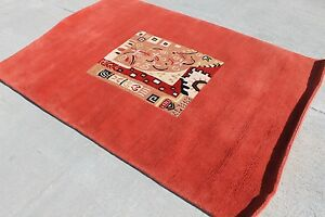 RSG285 BRIGHT RED MODERN HANDMADE TIBETAN WOOLEN RUG 4' X 6' MADE IN NEPAL