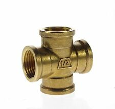 """2pcs 1/2"""" BSP 4 Way Female Cross Pipe Brass Adapter Coupler Fitting Connectors"""