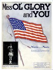 MANCHESTER NH Sheet Music 1942 Laura Jane Netsch Mill Ol Glory And You