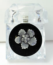 Adjustable Textured Flower Ring with Diamante Centre and Presentation Gift Box