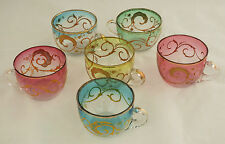 5 Antique Moser Art Glass Colorful Punch Tea Cups Raised Gold Decorations