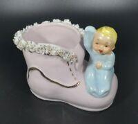 Vintage 1950's Baby Boot Ceramic Spaghetti Trim Nursery Planter