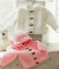 Baby CHILDREN Knitting Pattern Hooded Jacket Round Neck  Copy 12 Ply Chunky