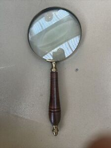 SOLID BRASS / GLASS / WOOD LARGE HAND MAGNIFIER