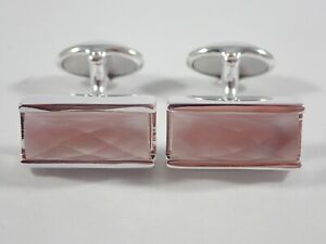 LINKS OF LONDON 925 STERLING SILVER PINK MOTHER-OF-PEARL T-BAR CUFFLINKS