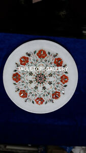 12'' Inlaid Kitchen Decoration  Marble Plate Inlay Marquetry Work Décor H4076B