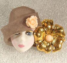 LADY HEAD woman FACE Porcelain-Look brooch pin Flapper Figural flower Handmade