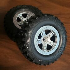 Traxxas Slash 2wd Front Wheels Tires Silver Rims 6870 SCT Premounted New