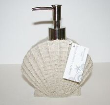 NEW COASTAL COLLECTION SAND BEIGE+CLAM SHELL+ RESIN SOAP+LOTION DISPENSER