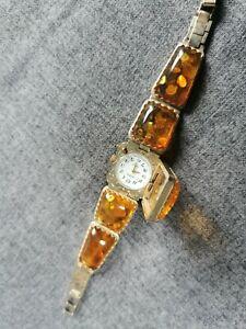 Stunning Vintage Yanka Russian Watch Mechanical  with Amber Bracelet 17 jewels