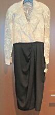 NWT-Vintage CARMEN MARC VALVO Faux Wrap Dress - Size 14 - Lace Top w Black Skirt