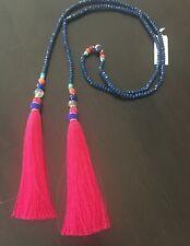 Ethnic Fabric Tassels Genuine Stone Long Necklace
