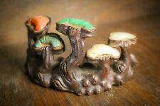More details for antique - bronze mushroom 'brush stand'? - semiprecious stones - rare & unique