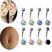 12Pcs/set Surgical Steel Crystal Rhinestone Belly Button Navel Bar Ring Piercing